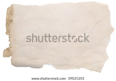 old rough paper isolated on white