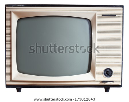 Old Russian black and white TV set isolated on white with clipping paths