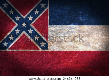 Old rusty metal sign with a flag - Mississippi