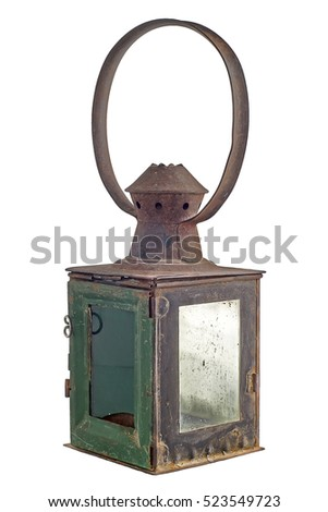 Old rusty railroad lantern