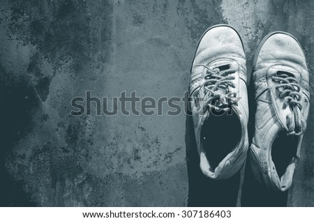 Old shoes. Grunge background