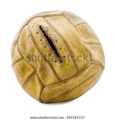 old soccer ball on a white background