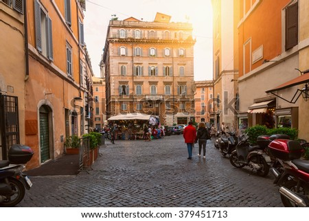 Old square in Rome, Italy