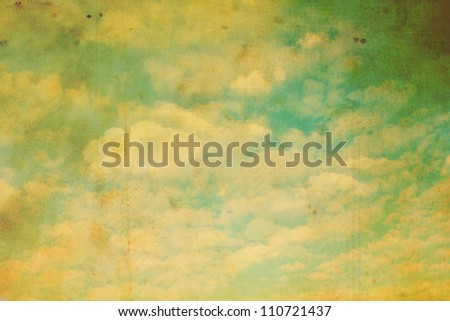 Old, stained, grungy sky and clouds background