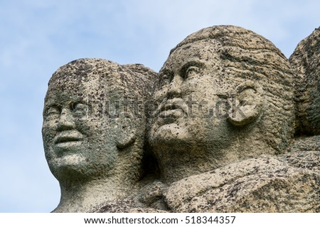 Old statues in the destroyed village, the city of utopia, Basilicata, Italy
