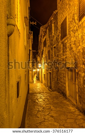 Old stone street of Sibenik at night , Dalmatia, Croatia