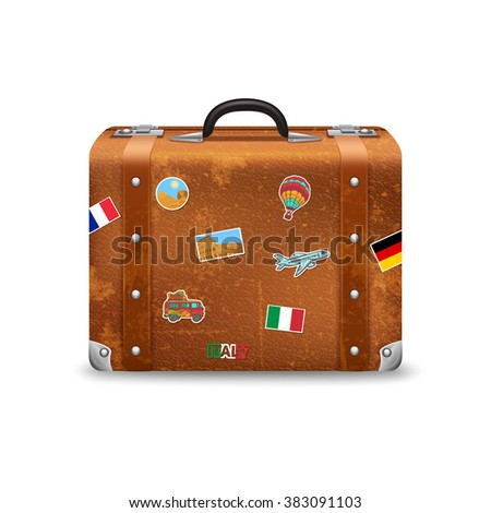 Vintage Suitcase Travel Stickers Isolated On Stock Illustration ...
