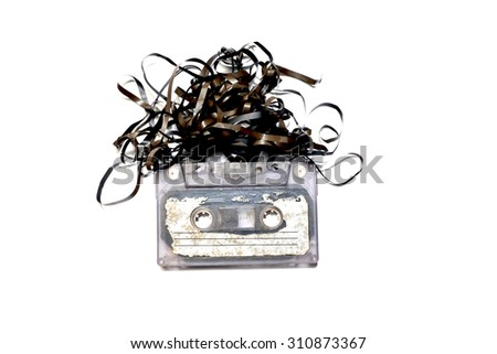old tape cassette on white background