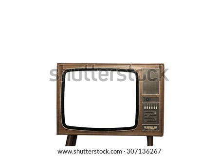 Old television isolated on white background