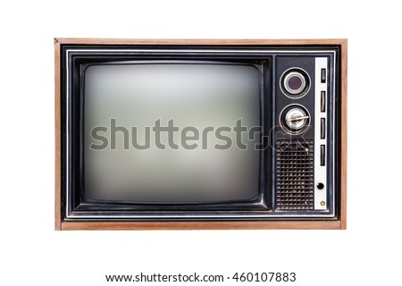 Old television isolated on white background.