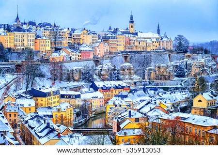 Old town of Luxembourg city snow white in winter, Europe