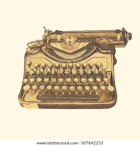Old typewriter isolated illustration