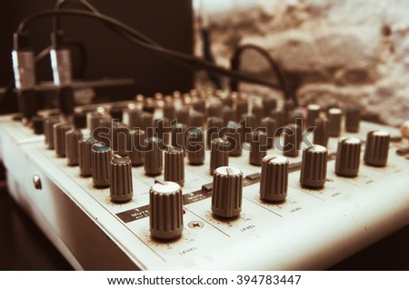 old used musical mixer closeup