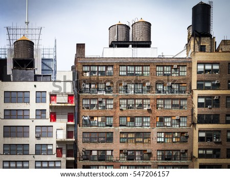 Apartment Building Roof old dirty apartment buildings facing alley stock photo 451520767