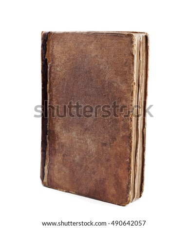 Old vintage book closeup isolated on white background