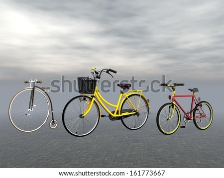 Old vintage, city and mountain bike in grey background - stock photo