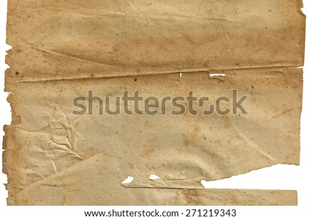 Old vintage dirty torn blank page book on a white background isolated. Old paper isolated on a white background.