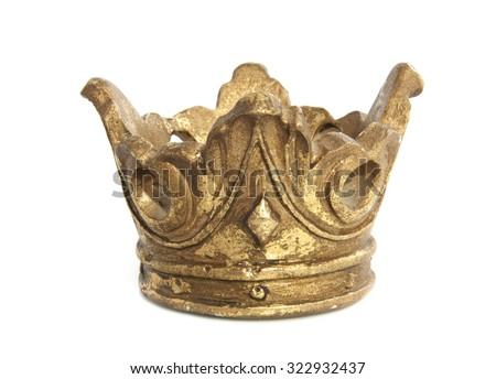 Old vintage golden crown isolated over white