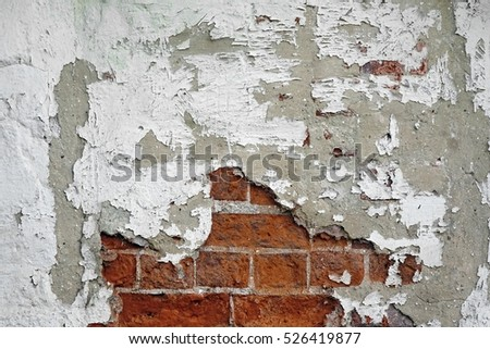 Old Vintage Red Brick Wall With Crashed White Plaster Texture Background. Red White Retro Building Wallpaper. Grunge Street Exterior Wall Surface. Abstract Urban Pattern. Graffiti Brickwal Closeup
