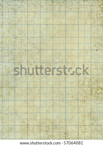 Old vintage stained discolored dirty graph paper.