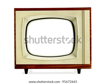 Old vintage television with blank screen isolated on white background