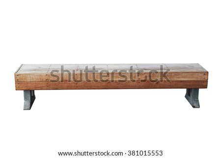 Old Vintage Wood Bench Against White Stock Photo 380454154