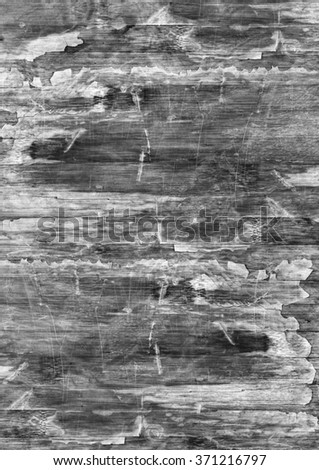 Old Weathered Wood Laminated Flooring Varnished Blockboard Panel, Cracked, Scratched, Peeled Off, Gray Grunge Texture.