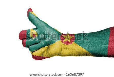 Old woman giving the thumbs up sign, isolated, flag of Grenada