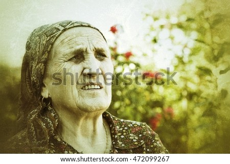 old woman thinking, wrinkled