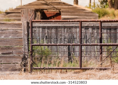 Old Wood & Rusted Iron Gate on a Rural Farm in America
