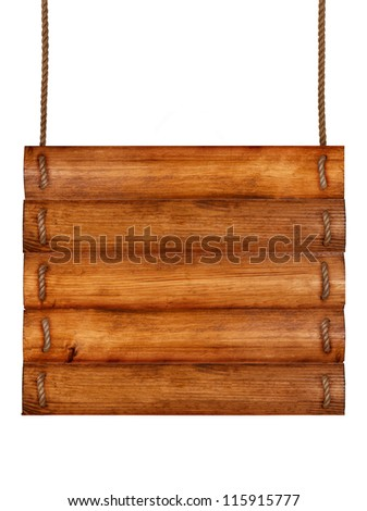 Old wooden board with rope