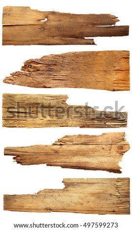 old wooden boards isolated on white background.