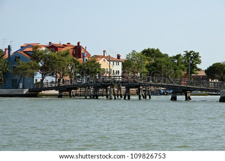 old wooden bridge to Mazzorbo connect with the island of Burano