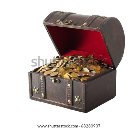 Old wooden chest with golden coins isolated on the white background