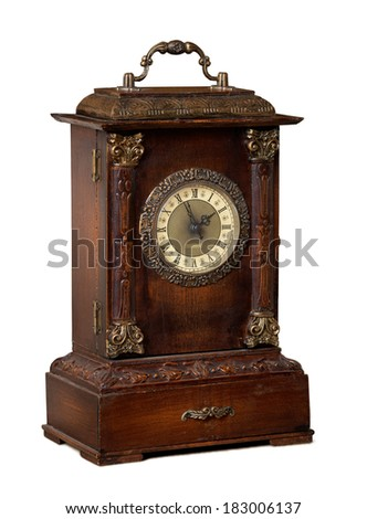 old wooden clock on white background