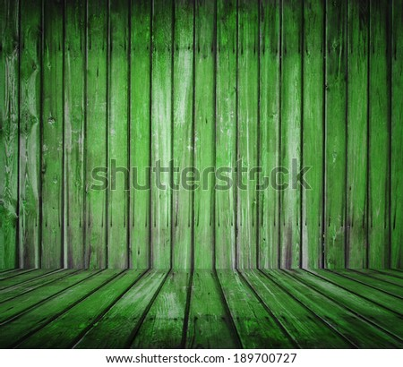 old wooden room, green background
