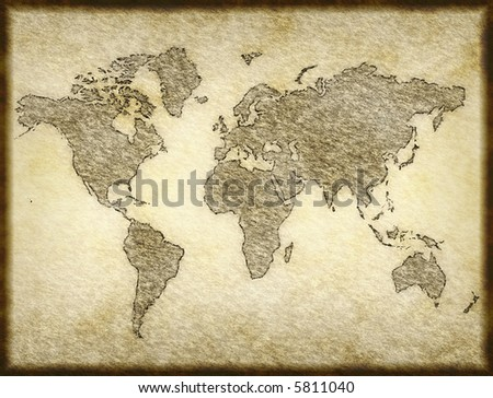 Map World Design On Old Paper Stock Vector Shutterstock - Parchment paper map of us