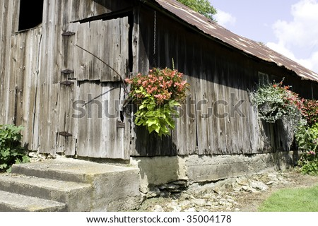 Old worn down barn with hanging flower ports and beautiful flowers.
