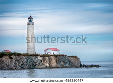 Oldest lighthouse in Gaspe Peninsula, Cap des Rosiers,  Quebec. Highest in Canada it has been standing for over 150 years.