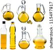 Olive and sunflower oil in the bottles and decanters collection set isolated on white  background - stock photo