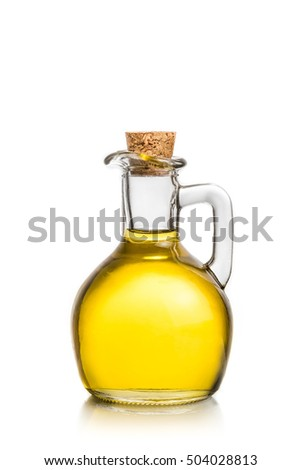 olive oil container bottle on white background, concept of diet and nutrition