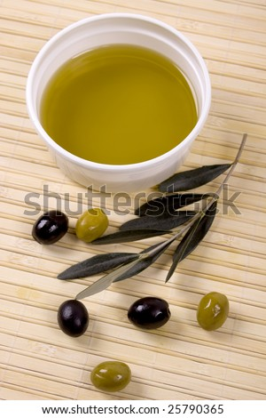 Olive oil with green and black olives
