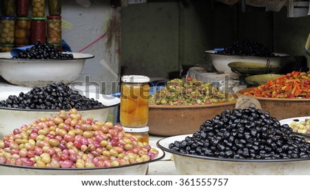olive on traditional morocco market in medina; morocco
