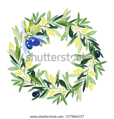 Watercolor Green Leaves Wreath Leaf Boarder Stock