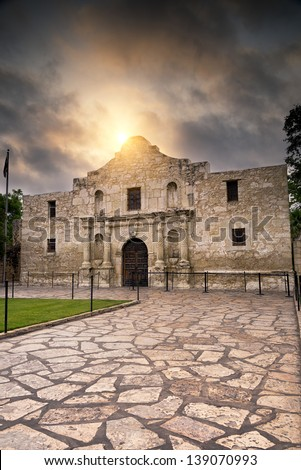 Ominous sky hovering over the historic Alamo in San Antonio, TX