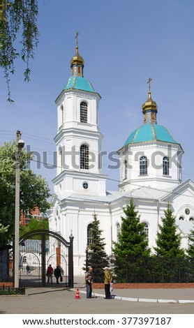 Omsk, Russia - May 17, 2012: view of Kresto-Vozdvizhenskii ?athedral closeup
