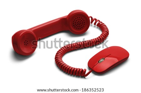 On-line Communications with Red Phone Connected to Computer Mouse Isolated on White Background.