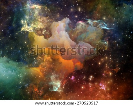 Once Upon a Space series. Design composed of fractal clouds as a metaphor on the subject of Universe, cosmos, astronomy, science and education