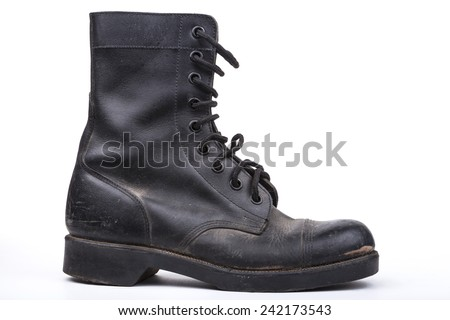 One  Black Dirty army boot isolated on white background