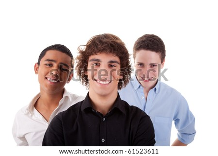 one boy, with two friends on back, of different colors,looking to camera and smiling, isolated on white, studio shot